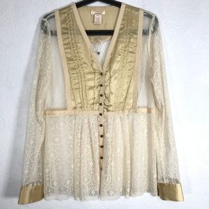 Sundance Lace Button Down Shirt V Neck Long Sleeve